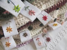 Embroidered tags for home-made products. Crochet, knitting, sewing