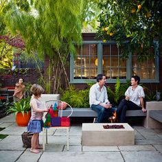 fire pits, bench, patio, fire pit area, backyard, small outdoor spaces, small gardens, firepit, bungalow