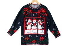 Vintage 80s Peepin' Snowmen Tacky Acrylic Ugly Christmas Sweater Women's Size Large (L) $35