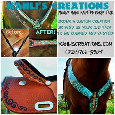 www.kahliscreations.com Beautiful custom painted horse tack! Georges tack! I so want the breast collar!!!!