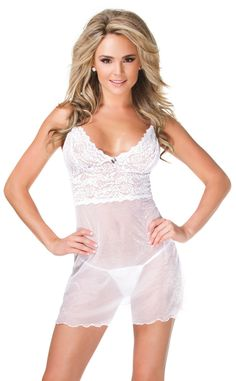 White Shimmer Mesh And Lace Chemise by Coquette - Bridal and honeymoon lingerie and costumes –   #white #ivory #bride #wedding #bridal #honeymoon #lingerie #sexy #lace #stockings #sparklingstrawberry