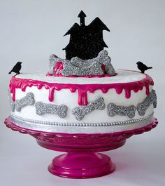 Beautifully glam, wonderfully fun pink glittery Halloween cake. #cake #pink #Halloween #decorated #food #baking #dessert #party #holidays