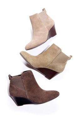 Ultra wearable suede wedge bootie with pull tabs