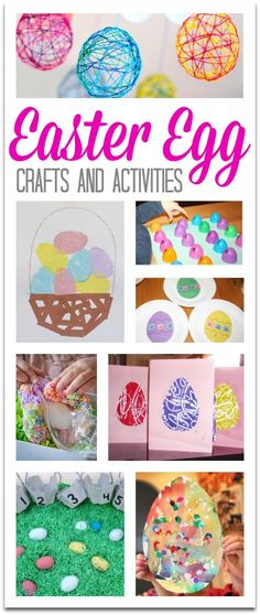 Easter Egg Crafts and Activities!  Easy string eggs, sponge painting, number hunt and more!