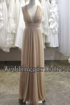 Champagne Customized V-neck A-line Sleeveless Long Chiffon Dress Prom Dress Evening Dress Wedding Dress Long Bridesmaid Dress Formal Dress on Etsy, $105.00   **** close to picture, bridesmsaid in middle****
