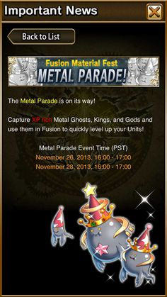 The Metal Parade is on its way! Metal Parade Event Time: Nov 26, 16:00-17:00 PST and Nov 28, 16:00-17:00 PST