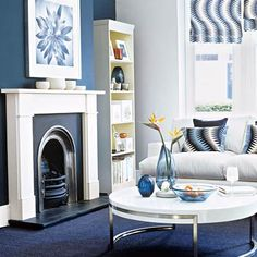 living rooms, fireplac, bold blue, nice blue, blues