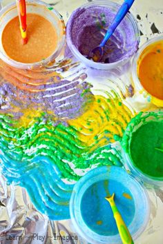 Homemade Sand Paint Recipe - Create textured and scented paint for a multisensory art experience kids will love!  Paint on foil for vibrant ...