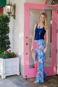 @Sarah Chintomby Tucker in Lilly Pulitzer Resort '13- Middleton Palazzo Pant & In a Knot Necklace