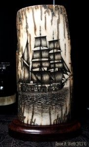 Jason R. Webb Mammoth Ivory Scrimshaw Ship - up for sale!  --  Jason's first mammoth ivory scrimshaw ship is available at almost a 50% discount!