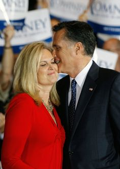 Mitt Romney and Ann Romney celebrate their primary victory.
