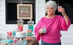 "Paula throws a ""Gender Reveal"" party for her niece Corrie, and gives you the scoop on how to throw your own! on PaulaDeen.com #pauladeen"