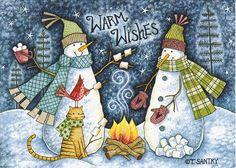 Snowmen Roasting Marshmallows by T.Santry