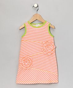 Take a look at this Neon Coral Stripe Shift Dress - Toddler & Girls by Red Currant Kids on #zulily today#zulily #fall