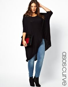 Image 1 of ASOS CURVE Jersey Top With Dip Back...sz UK 20, SUPER CUTE with leather leggings  *******