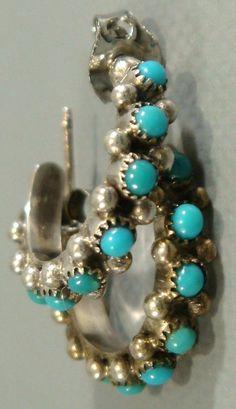 Vintage 1960's ZUNI Old Pawn SNAKE EYE Turquoise & Sterling Silver HOOP Earrings