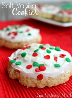 Soft Vanilla Cookies - These really are the softest cookies I have ever eaten! You will LOVE them! From sixsistersstuff.com