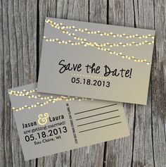 this save the date is so cute! invitations, idea, light design, weddings, string lights, save the date postcard, chalkboard, diy printabl, parti