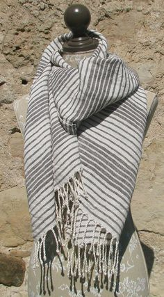 Handwoven Linen Flax Dark Brown And White Scarf (Shawl)- Pure Linen by Amizanti via Etsy