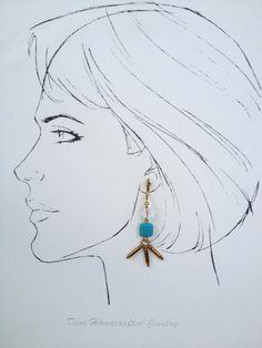 Chandelier Earring with Turquoise Stones by Hibiscus03 on Etsy, $35.00