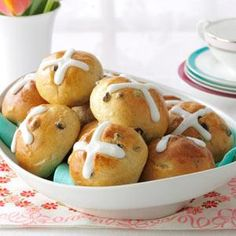 "Traditional Hot Cross Buns / Taste of Home / ""On Easter morning, our family always looked forward to a breakfast of dyed hard boiled eggs and Mom's hot cross buns. I still serve these for special brunches or buffets. —Barbara Jean Lull, Fullerton, California"""