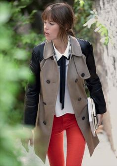 Red pants, neutral jacket/top