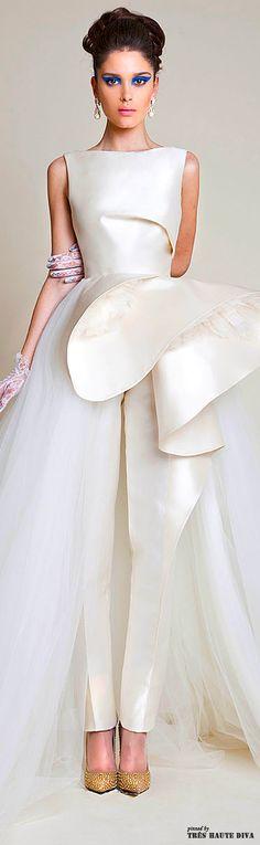 Azzi & Osta Spring 2014 / Beautiful Ivory wedding gown  / reharsal dinner dress / Wedding or Bridal attire ( pants )
