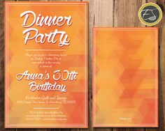 Fractured Triangles: Geometric Invitation, Dinner Party - Fresh Citrus. DIY Printable