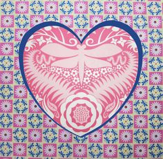Heart with fussy-cut center with dragonfly print | Jane Sassaman's Idea Book: Have a Heart!