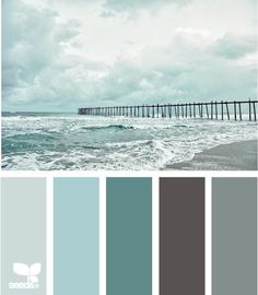 coastal tones - considering these colors when I decide to re-do my bedroom. Walls are already grey  it would be so easy to swap out the black  red pillows, paintings, candle holders with the vast amount of teals, aquas, turquoise  all my sea glass from my beach place...hmmmm.