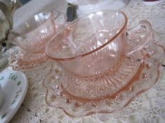 Depression glass teacups in the Old Colony/Lace Edge pattern