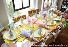 EASTER DINNER TABLE | Easter Table Settings for the Children's Table with Cupcakes and ...