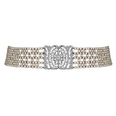 1stdibs   Art Deco French Pearl And Diamond Choker