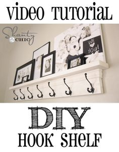 Video Tutorial for this DIY Hook Shelf!  Easy build!