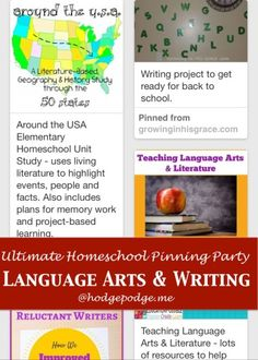 Language Arts & Writing: The Ultimate Homeschool Pinning Party