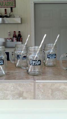 Bridal Shower mason jar mugs