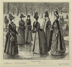 Outdoor Apparel : 1889 1880s fashion, fashion 1800s, victorian fashion, 1880s women, outdoor apparel