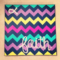 "@ Kim Olmos - This looks like a Kim Project!  Chevron ""Faith"" Canvas Painting"