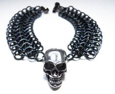 Skull bracelet Gothic Chainmaille Unisex Black by DoBatsEatCats, $35.00