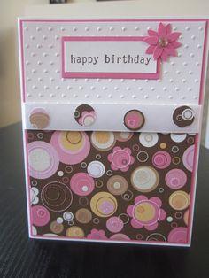 Happy Birthday Card with Flower Glitter Paper by thepaperdivamum, $2.00