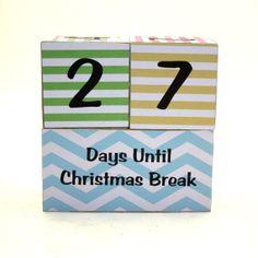 Teacher Gift Countdown Blocks Weeks Until Thanksgiving Spring Break Christmas Last Day on Etsy, $22.00