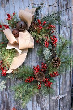 Christmas Wreath, Burlap, Pine, Red Berries, Bells, Grapevine Wreath