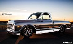 This Chevrolet C-10 on Forgeline CF3C Concave wheels that Roadster Shop built for Craftsman Tools is perhaps the fastest and most beautiful pro-touring truck that we have ever seen. See more at: http://www.forgeline.com/customer_gallery_view.php?cvk=959  #Forgeline #CF3C #notjustanotherprettywheel #RoadsterShop #Craftsman #Chevy #C10 #pickup