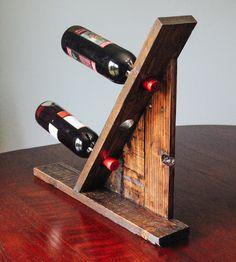 Reclaimed Wood Table Top Wine Rack