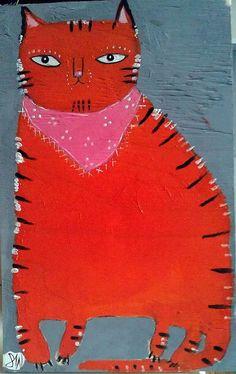 Orange cat with bandana by oswald flump
