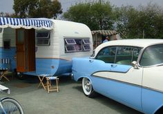 vintage blue and white caravan