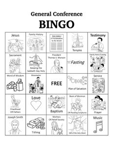 Free Download: General Conference BINGO - Bits of Everything