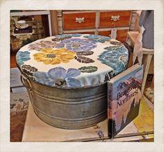 Outdoor ottoman/seat made from vintage galvanized tub. DIY:  galvanized tub, plywood, foam, outdoor fabric.  Tools: jigsaw, scissors, staple gun. #patinaandwhimsy #ottoman #galvanizedtub #diy #upcycle