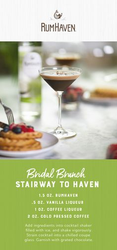 Cheers to the big day with a coconutty coffee cocktail. Featuring RumHaven, coffee, vanilla liqueur and coffee liqueur, the Stairway to Haven is a delicious bridal brunch drink.