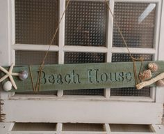 "rustic sign ""Beach House, by The Salvaged Home on Etsy"